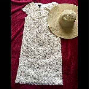EUC Talbots Ivory Lace Dress (Semi-Sleeveless)